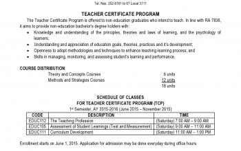 CKS College offers Teacher Certificate Program (TCP) for 1st semester of S.Y. 2015 - 2016